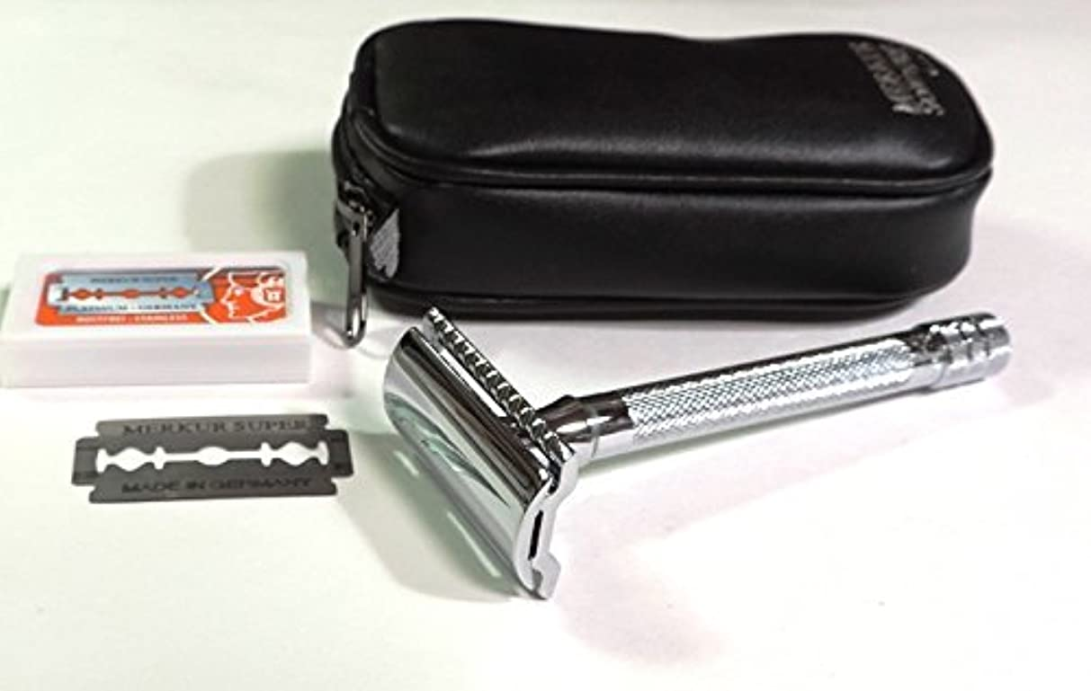 西ヒット郵便番号ゾーリンゲン メルクールMERKUR(独)髭剃り(ひげそり)両刃ホルダー23C 替刃11枚、携帯ポーチ付