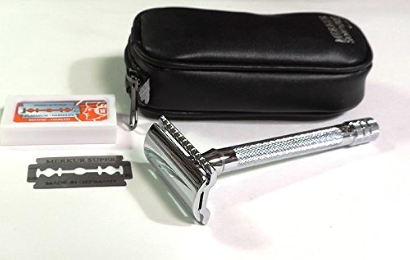 リサイクルするアレルギー墓地ゾーリンゲン メルクールMERKUR(独)髭剃り(ひげそり)両刃ホルダー23C 替刃11枚、携帯ポーチ付