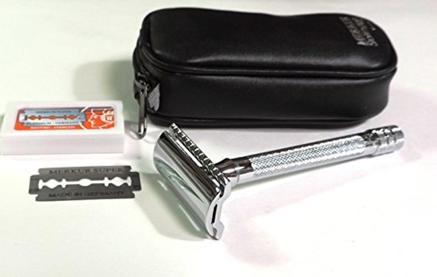 キー拘束する電気ゾーリンゲン メルクールMERKUR(独)髭剃り(ひげそり)両刃ホルダー23C 替刃11枚、携帯ポーチ付
