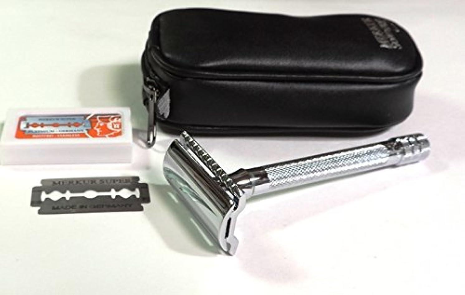 意気揚々ポットマイクロフォンゾーリンゲン メルクールMERKUR(独)髭剃り(ひげそり)両刃ホルダー23C 替刃11枚、携帯ポーチ付