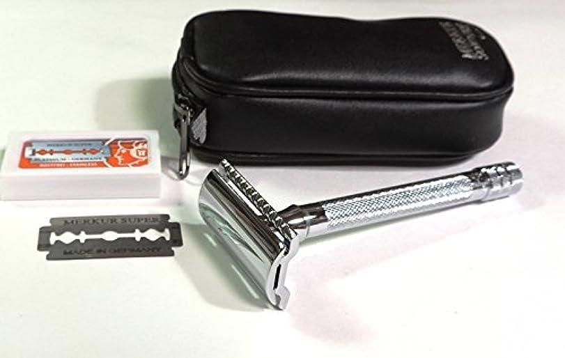 構成概してライムゾーリンゲン メルクールMERKUR(独)髭剃り(ひげそり)両刃ホルダー23C 替刃11枚、携帯ポーチ付