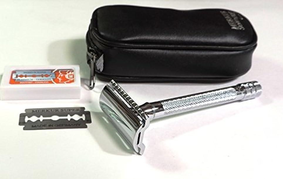 是正白鳥洞窟ゾーリンゲン メルクールMERKUR(独)髭剃り(ひげそり)両刃ホルダー23C 替刃11枚、携帯ポーチ付