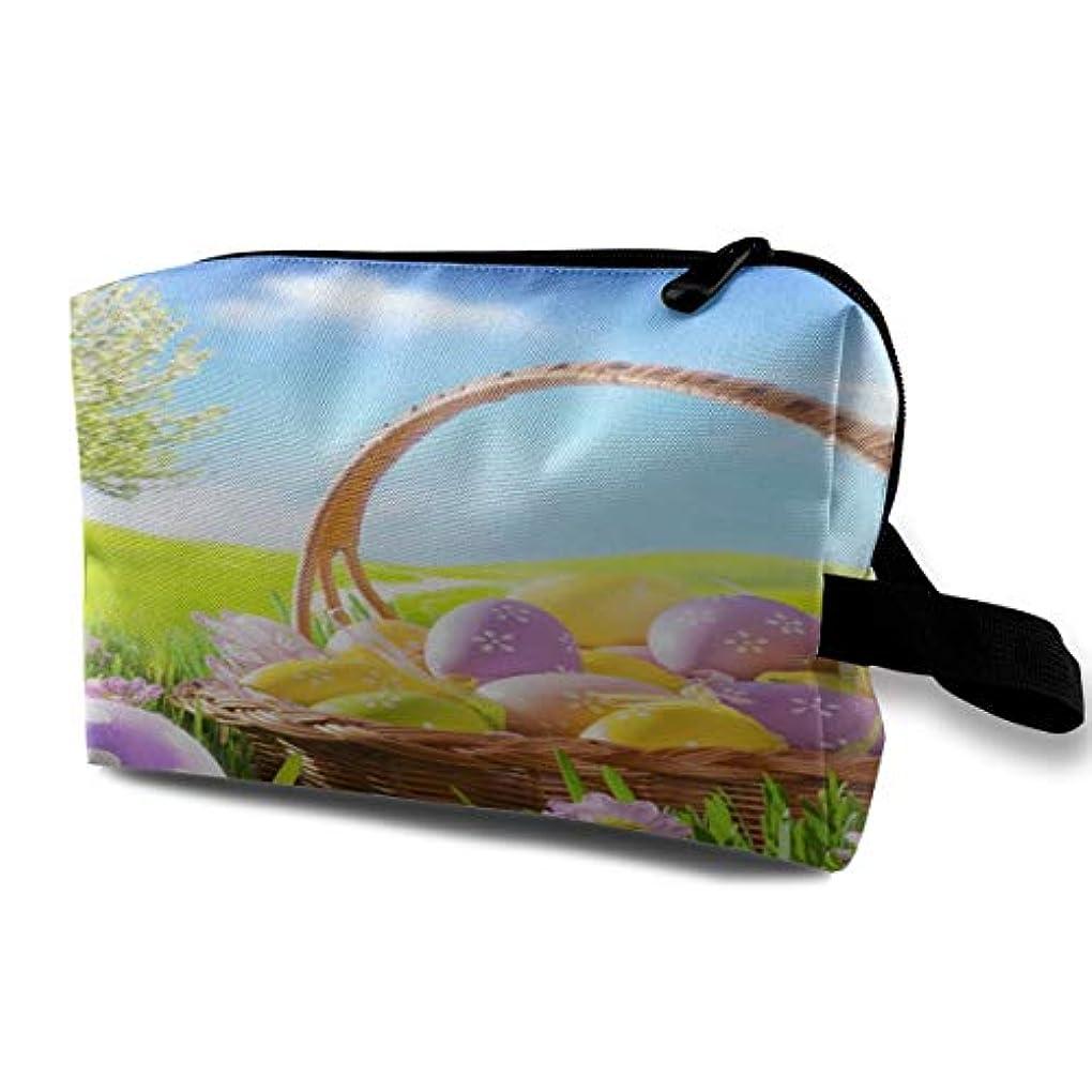 集まる物理刈り取るEaster Eggs Meadow And Sunlight 収納ポーチ 化粧ポーチ 大容量 軽量 耐久性 ハンドル付持ち運び便利。入れ 自宅?出張?旅行?アウトドア撮影などに対応。メンズ レディース トラベルグッズ
