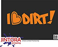 JINTORA ステッカー/カーステッカー - I love dirty - 私は汚いが大好き - 210x62 mm - JDM/Die cut - 車/ウィンドウ/ラップトップ/ウィンドウ - オレンジ