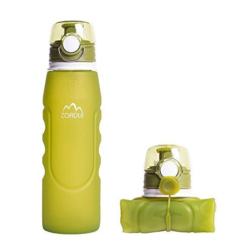 ZOADLE折り畳み式ウォーターボトル - 1リットル(35 オンス)、リークプルーフ、BPAフリー、FDA承認、ポータブルでリユース可能なシリコンウォーターボトル、旅行、スポーツ、アウトドア用 (グリーン, 1000ml)