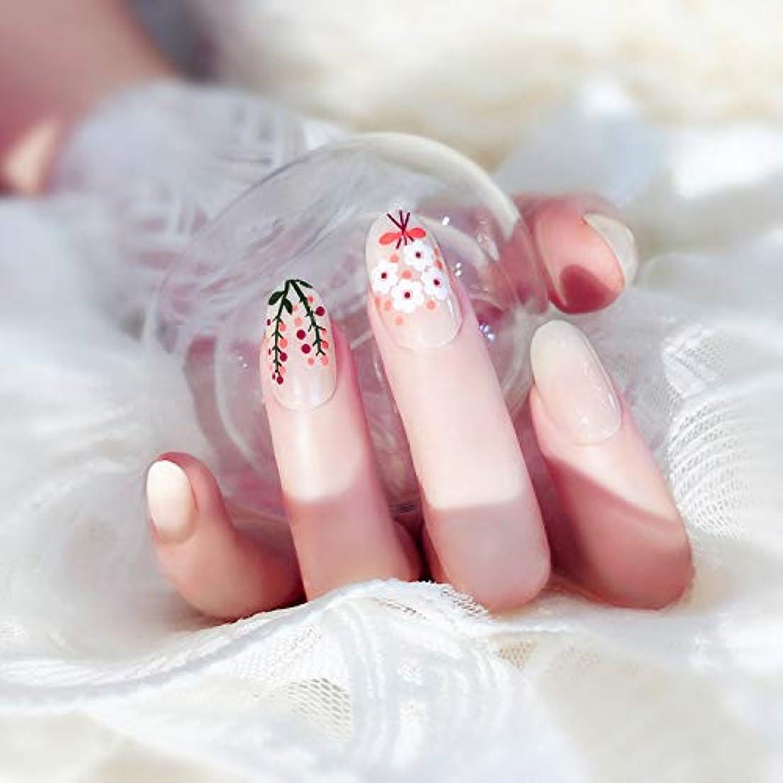 マージン不平を言うフロー24枚入 可愛い優雅ネイル 手作りネイルチップ 和装 ネイル 結婚式、パーティー、二次会など 予め接着した爪 中等長ネイルチップ (Z22)