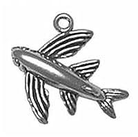 スターリングシルバーメンズ1.5MMボックスチェーン3d Flying Fish動物ペンダントネックレス