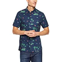 French Connection Men's Retro Flamingo Short Sleeve Classic FIT Shirt, Oxford Blue
