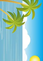 ポスター ウォールステッカー シール式ステッカー 飾り 257×364㎜ B4 写真 フォト 壁 インテリア おしゃれ 剥がせる wall sticker poster pb4wsxxxxx-001427-ds その他 海 やしの木 太陽