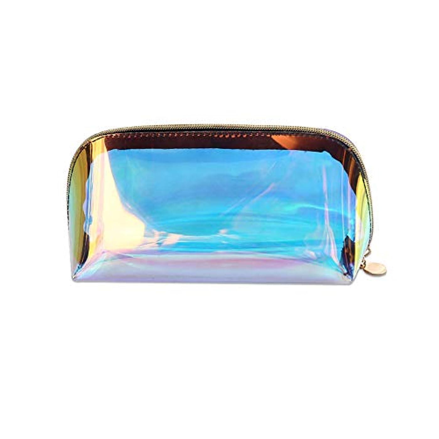 ピストンオペラまたは化粧ポーチ 透明バック 化粧品収納 大容量 メイクポーチ 撥水加工 小物入れ TPUレーザー コンパクトサイズ 高品質 多機能 旅行 おしゃれ 虹色バッグ レディース (小さいな化粧ポーチ)