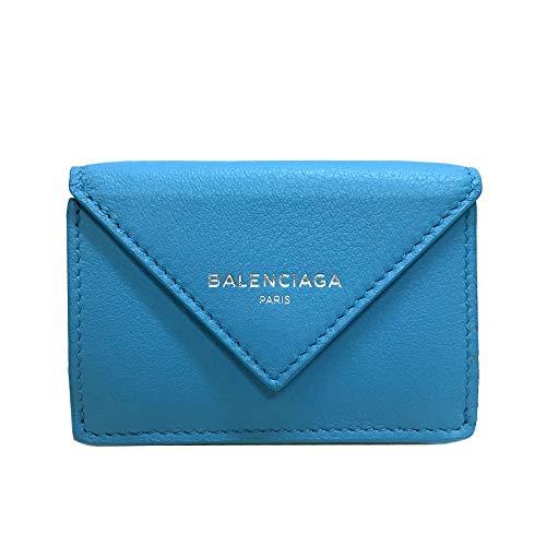[バレンシアガ] BALENCIAGA レディース 三つ折財布 ペーパー ミニ ウォレット 391446 DLQ0N 4908 レザー ブルー [並行輸入品]