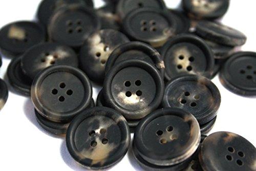 水牛ボタン770(COLOR.3Cツヤ無しブラックホワイト) 20mm紳士服スーツジャケットボタン