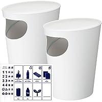 岩谷マテリアル ENOTS サイドテーブル の中から選べる2個セット + 分別シール ゴミ箱 ごみ箱 ダストボックス ふた付き おしゃれ I`m D エノッツ 分別ステッカー (Wホワイト×Wホワイト)
