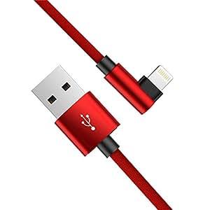 ライトニングケーブル L字 1.2m iphone 充電ケーブル アイフォン充電ケーブル L型 急速充電 小型ヘッド 高耐久ナイロンメッシュ編み 断線防止 iPhone/iPod/iPad (红)