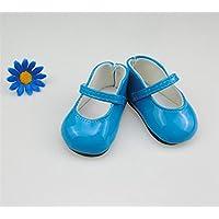 HuaQingPiJu-JP 18インチ人形アクセサリーレザーシューズおもちゃアクセサリー(ブルー)