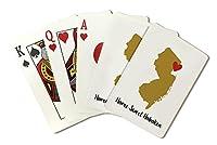 ホームスイートHoboken、新しいJersey–状態アウトラインとハート(ゴールド、レッド( Playingカードデッキ–52カードPokerサイズwithジョーカー)