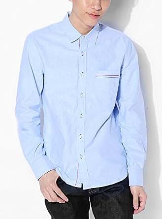 サックスFパターン XL (ベストマート)BestMart デザイナーズ 美シルエット オックス シャツ メンズ 長袖 半袖 半そで ブランド Yシャツ ワイシャツ 無地 スリム きれいめ 長そで おしゃれ ミリタリー 白 春 夏 秋 冬 602629-007-704