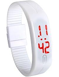 Lancardo キッズ 腕時計 スポーツウォッチ LEDデジタル 防水 電子 アラーム カレンダー シリコン 12/24時刻切替え ホワイト