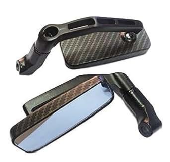 バイク スクエア型 カスタム ミラー 正ネジ 逆ネジ 8mm 10mm 左右セット (カーボン柄)