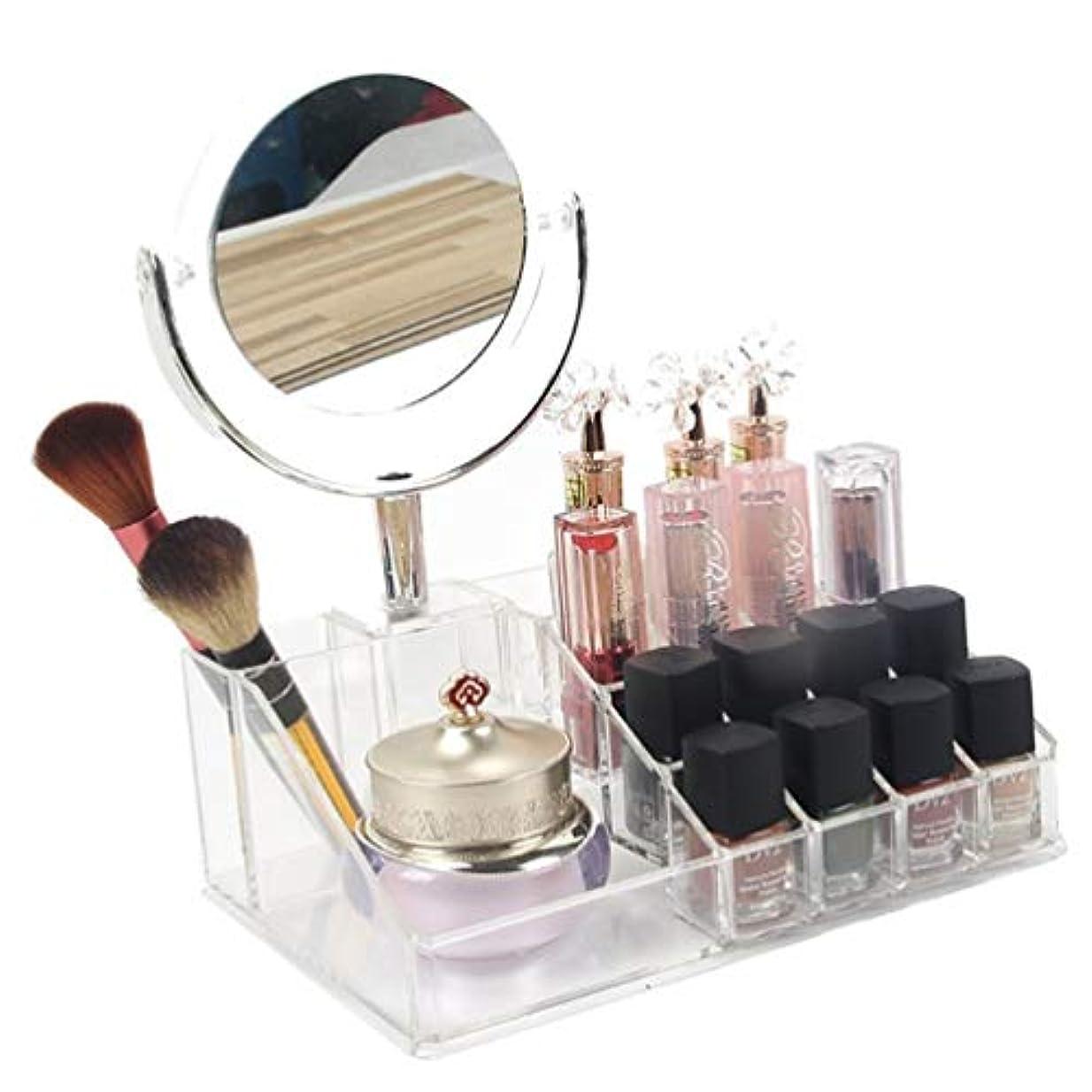 硬さみ再びAnberotta コスメボックス メイクボックス ミラー 化粧鏡付き 化粧品収納ケース 透明 メイクブラシ マニキュア マスカラ リップ グロス 小物入れ J63 (タイプA)