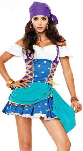 女盗賊衣装 パイレーツ カリブの海賊 コスチューム 青と紫 なりきりグッズ