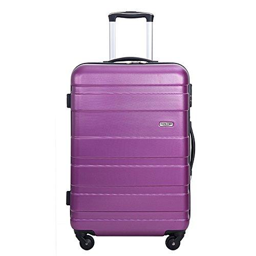 【タノビ】 TANOBI スーツケース 超軽量 キャリーバッグ キャリーケース 旅行箱 S型国内・国際線機内持込可ファスナータイプ 【一年修理保証】 3サイズ6色 (M, パープル)