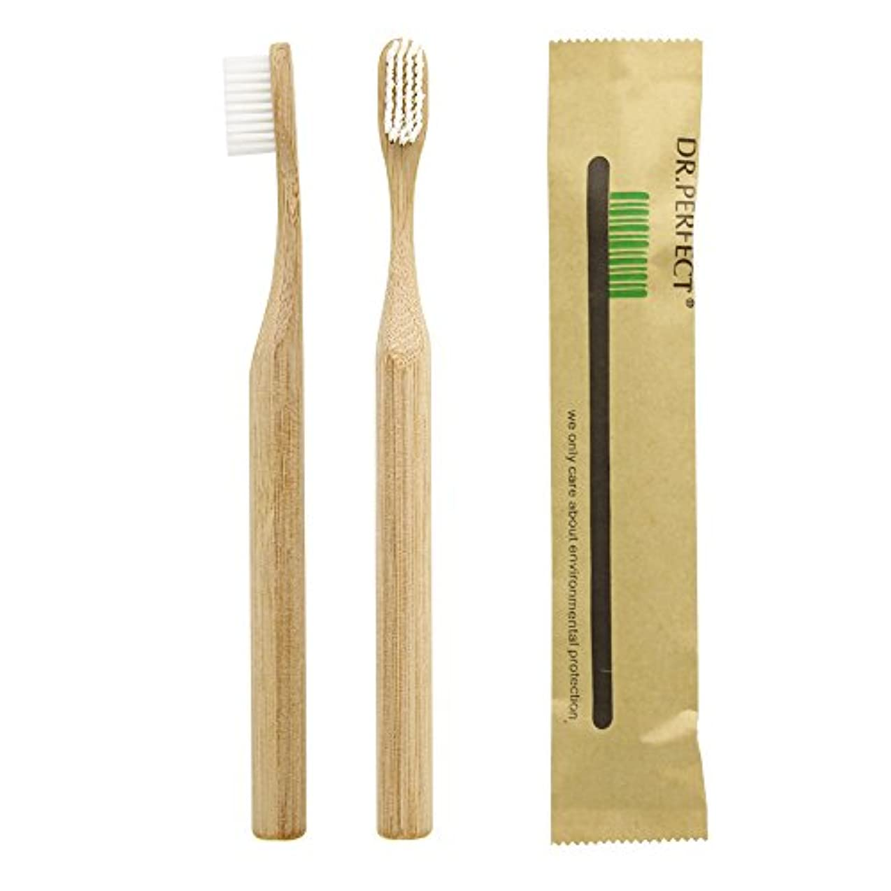 Dr.Perfect Bamboo Toothbrush アダルト竹の歯ブラシ ナイロン毛 環境にやさしい製品 (ホワイト)