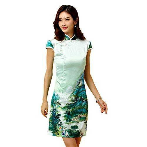 [해외]반팔 여성 원피스 치파오 예쁘게 녹색 M L LL 3L 4L 큰 사이즈/Short-sleeved Women`s One Piece Chinese Dress Clean M L L M L LL 3 L 4 L Large Size