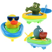 B Baosity 全3個 柔らかい ゴム製 時計仕掛け 動物模型 スイミング 赤ん坊 幼児 浴室 水おもちゃ