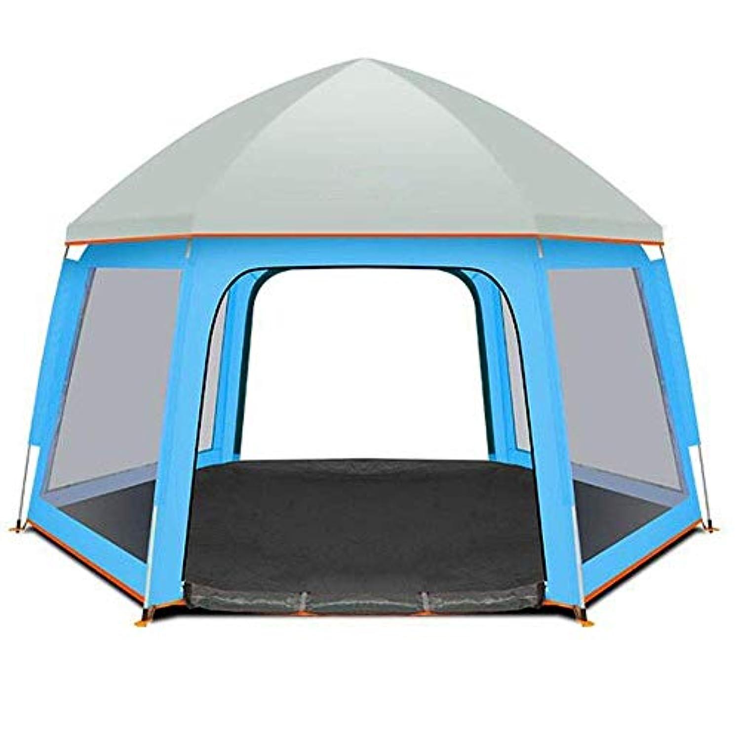 抗生物質やる本質的にキャンプテント ドームテント、屋外キャンプ六角形のテント3-5人スピードオープンポップアップテントダブルシングル家族テント適したビーチをハイキング サンシェード?シェルター (色 : 青)