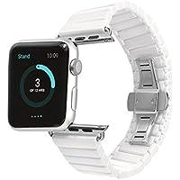For Apple Watch/Apple Watch Series 2/Apple Watch Series 3用バンド 高級セラミック製 Apple Watch Series 3交換ベルト 洗練 ファッショ かっこいい 連結部件パーツ付き 脱着簡単 ホワイト (42mm)