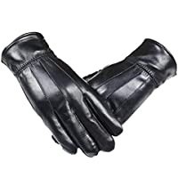 Long Keeper Men's Genuine Leather Gloves Winter Full Finger Waterproof Driving Mittens
