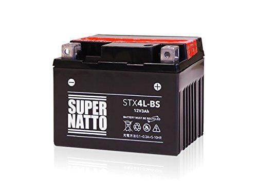 【液入れ初期補充電済み】 SUPER NATTO / STX4L-BS (YTX4L-BS互換) バイク用バッテリー 密閉型MF( トゥデイ Dio AF62 レッツ4/5 ジョルノ (AF70) アドレス V50 スーパーDio リード50 (AF10/20)/90 ジョグ (SA16J) ) 4L-BS