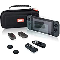 Nintendo Switch ハードケース キャリングケース ポーチ 収納バッグ ニンテンドースイッチ専用ガラスフイルム 液晶保護フィルム Joy-Conカバー カードケース付き ポケット内蔵 スリム(ブラック)