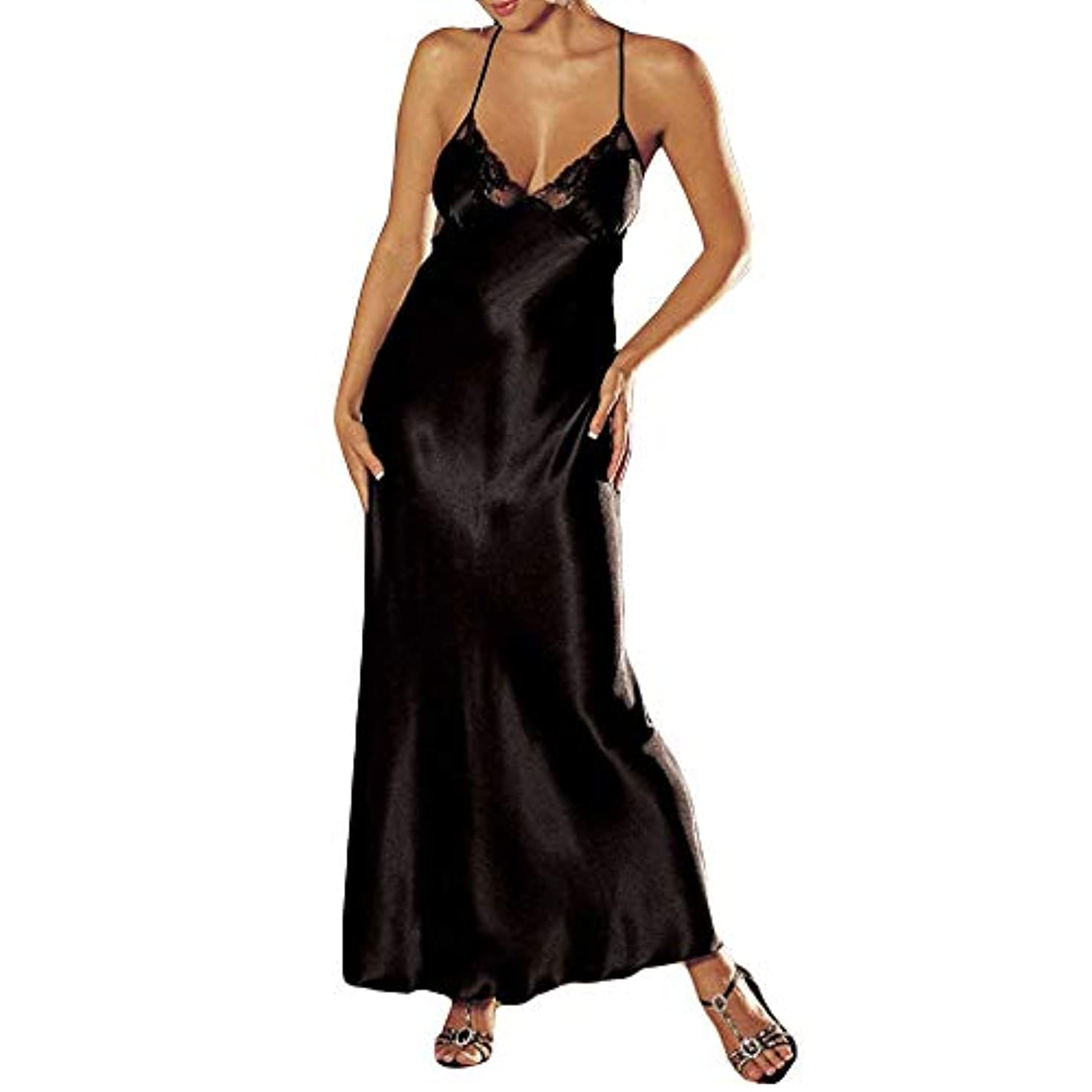 ミトン持続的参照吊りドレス liqiuxiang ウーマン 快適 柔らかい ロングスカート 女性 エレガント 着心地 通気性抜群 パジャマ レディース 上下 花柄 ノースリーブ 高級 襦袢