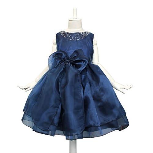 ドリーム企画 子供ドレス 発表会 d-005 パニエ内蔵 紺 大きなリボン 上質なオーガンジー素材5枚重ねドレス (表示サイズ140cm 参考サイズ120-130cm 肩幅26cm 胸囲70cm 胴囲66cm 身丈26cm 総丈72cm)
