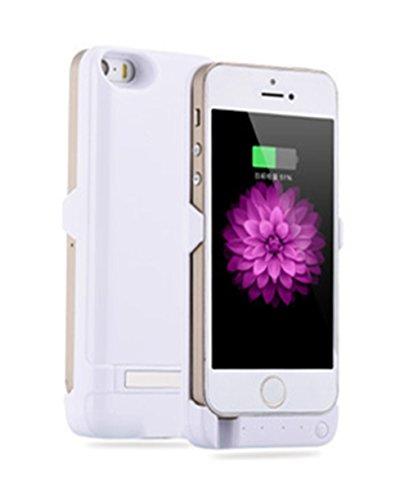 iPhone5/5s用 バッテリーケース モバイルバッテリー バッテリー内蔵ケース 一体型 充電ケース 大容量4200mAh ホワイト