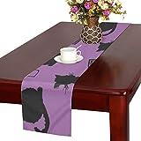 GGSXD テーブルランナー 小柄 紫色猫 クロス 食卓カバー 麻綿製 欧米 おしゃれ 16 Inch X 72 Inch (40cm X 182cm) キッチン ダイニング ホーム デコレーション モダン リビング 洗える