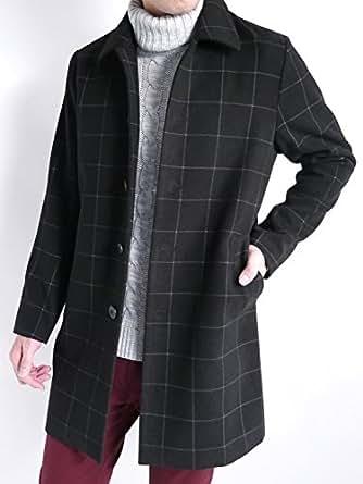 (オークランド) メルトン ステンカラーコート 起毛 厚手 コート トラッド MODE メンズ ウィンドウペン XLサイズ