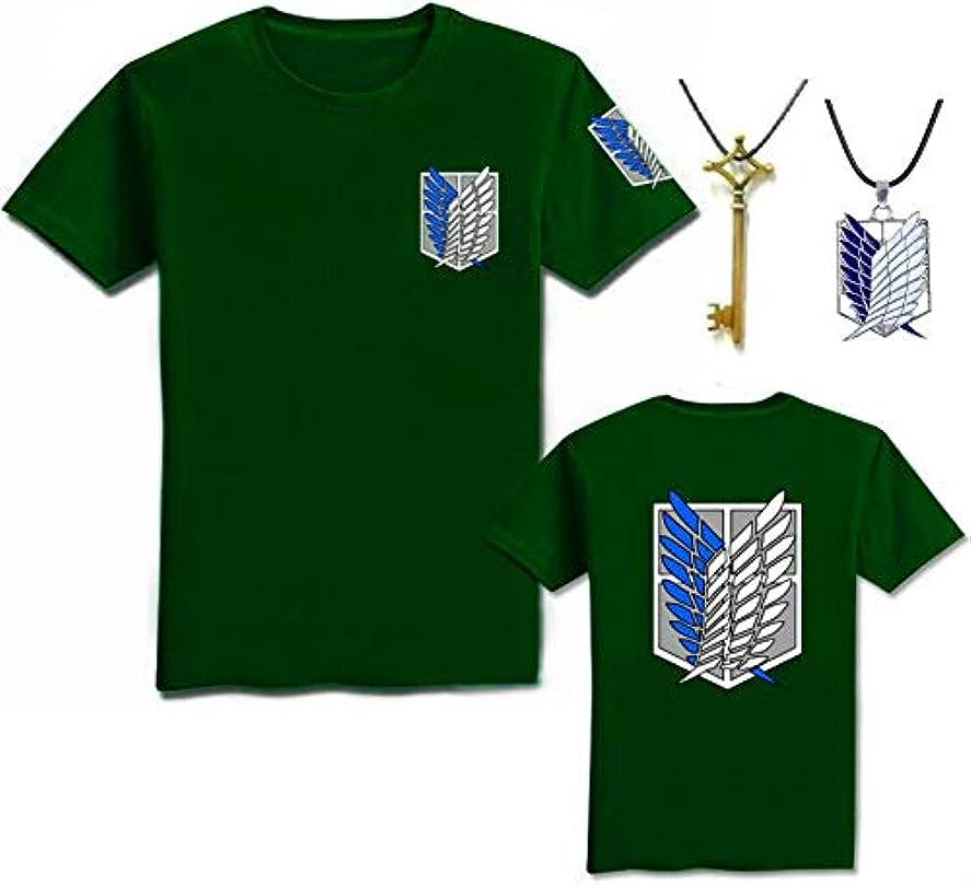 パーセントハシーフォアマンEntregando amor e paz 進撃の巨人 シャツ+地下室の鍵+ネックレス 3点セット コスチューム 調査兵団 自由の翼 (L, 緑)