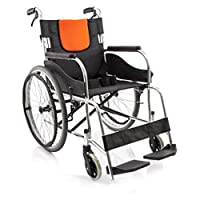 KDJHP 老人ポータブル車椅子アルミ合金手動車椅子無料インフレータブル折りたたみ車椅子 -574車いす
