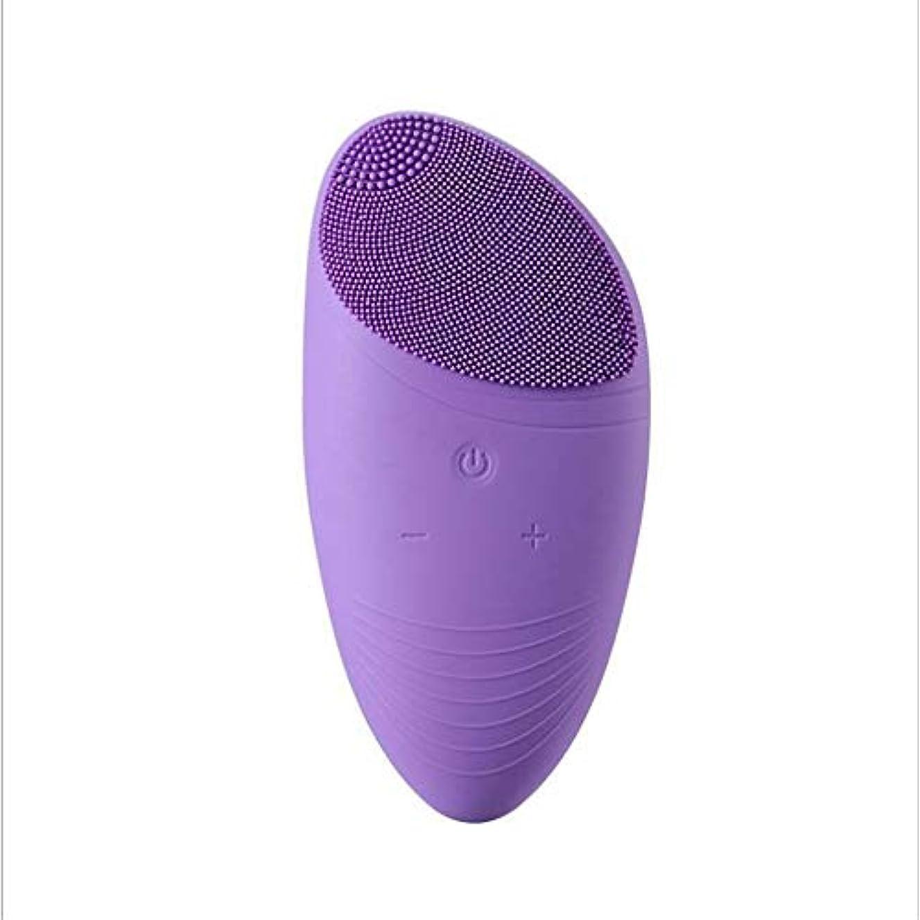 ジョットディボンドン下に風刺洗顔ブラシ、電気シリコーン充電式防水アンチエイジングスキンクレンザーと男性&女性のためのディープエクスフォリエーターのメイクツールマッサージャーソニックフェイス (Color : 紫の)