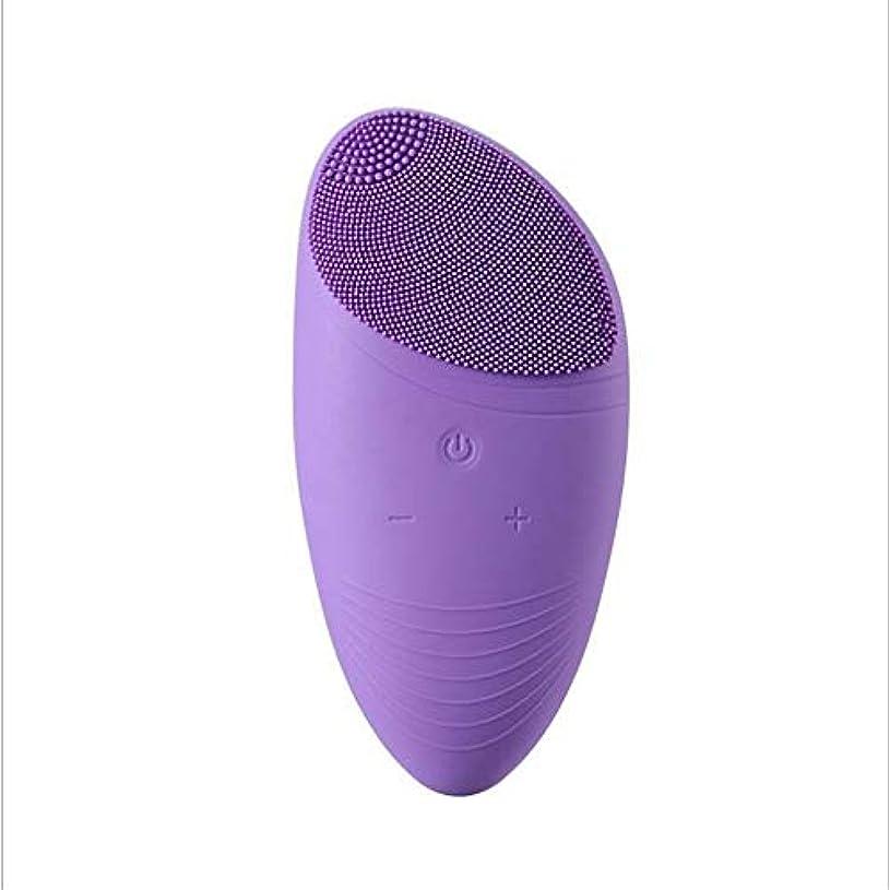 生理混雑予測子洗顔ブラシ、電気シリコーン充電式防水アンチエイジングスキンクレンザーと男性&女性のためのディープエクスフォリエーターのメイクツールマッサージャーソニックフェイス (Color : 紫の)