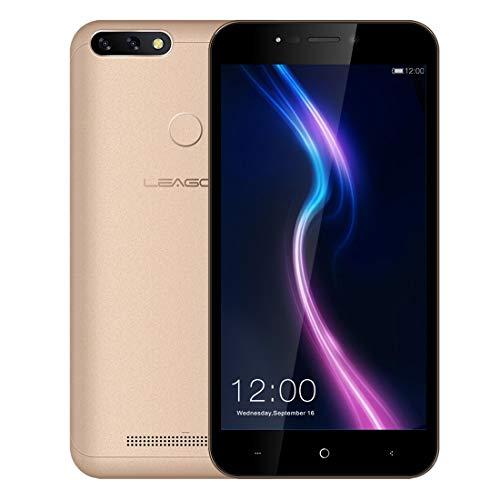 スマートフォン LEAGOO POWER 2 Pro 4G携帯電話 SIMフリー 5.2インチ HD 2G RAM+16G ROM 顔/指紋認証 8MP + 2MPリアデュアルカメラ Android 8.1 クアッドコア 4000mAh (金)