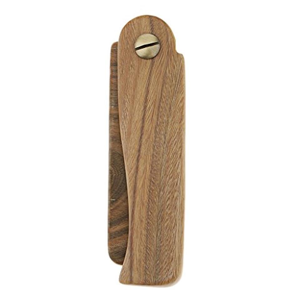 バンジョー一貫性のない制裁木製櫛 ヘアブラシ ヘアコーム ポケットサイズ 折り畳み式 ひげ櫛 2タイプ選べる - A