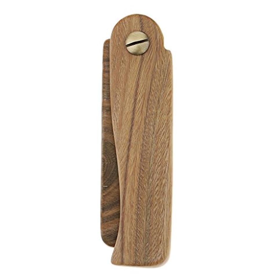 気性推定一生ポケットの折り畳み式の木のひげの口ひげは、男性の女性のための毛の櫛をグルーミング - A
