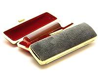 「琥珀樹脂印鑑16.5mm×60mmスウェードケース(ブラック)付き」 横彫り 古印体