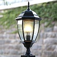 屋外用防水ピラーライトコンテンポラリーシンプルプレッジE27 LEDウォールコラムライト防錆金属アルミポストランプ屋外ヴィラ芝生ランタンパティオガーデンバルコニー装飾照明(色:ブロンズ-L)