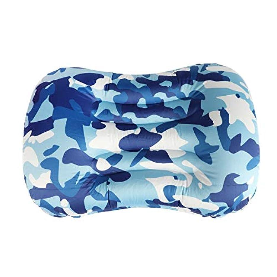 スペシャリスト文句を言うお金ゴムハイキングキャンプ旅行用の超軽量ポータブル空気インフレータブル枕-ブルー