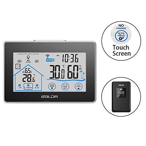 Aedo 天気予報計デジタル湿度計 温度計室内 LCD大画面温湿度計 最高最低温湿度表示 タッチスクリーンとバックライト機能あり 置き掛け両用タイプ